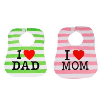 Baby Lab I Love Mom and I Love Dad Cotton Bib Pack of 2