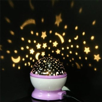 Baby LED Night Light Moon Star Projector Lamp 360 Degree RotationWith USB Cable - intl