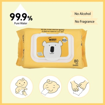Baby Moby 99.9% Water Wipes 80's Pack of 3