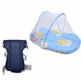 Baby Mosquito Net Bed (Blue) with Adjustable Straps Baby Carriers (Navy Blue)
