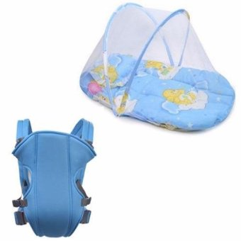 Baby Mosquito Net Bed (Blue) with Adjustable Straps Baby Carriers(Light Blue)
