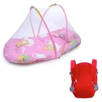 Baby Mosquito Net Bed (Pink) with Adjustable Straps Baby Carriers(Red)