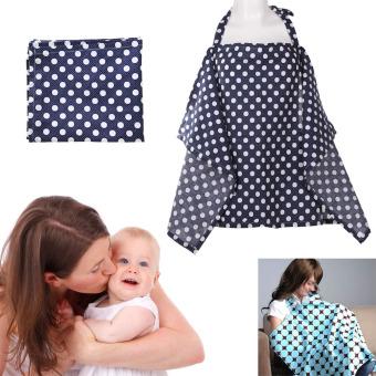 Baby Mum Breastfeeding Nursing Poncho Cover Up Cotton(Dark BlueDots) - 2