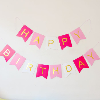 Baby pink birthday decorative lettered banners