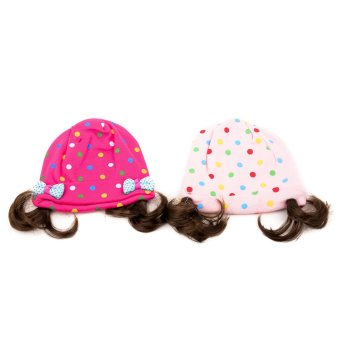 Baby Polka Dots with Synthetic Hair Bonnet set of 2