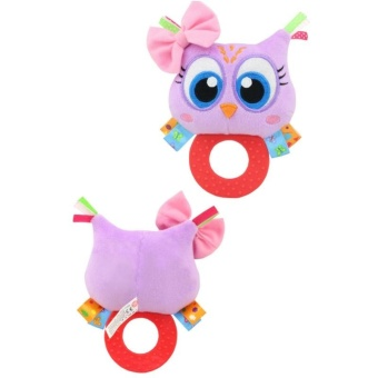 Baby Rattle Hand Bell Toys Plush Owl Elephant Monkey Lion RattleDolls Gifts for Infants Color:Purple - intl - 5