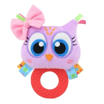 Baby Rattle Hand Bell Toys Plush Owl Elephant Monkey Lion RattleDolls Gifts for Infants Color:Purple - intl - 3