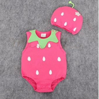Baby Romper Halloween Costume Baby Bodysuit with Hat Newborn Girl Boy Infant Romper Sleeveless Babysuit Jumpsuit Baby Costume Fruits Strawberry