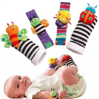 Baby Socks Toys Wrist Rattles and Foot Finders Set 4pc New Style - intl Price Philippines