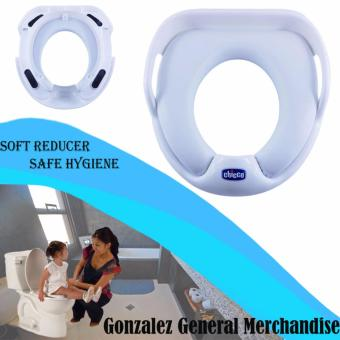 Baby soft potty seat toilet reducer with handle kids training adapter children Chicco toilet training seat(White)