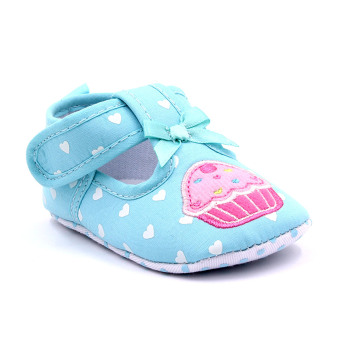 Baby Step Cupcake Hearts Baby Girl Shoes (Blue)
