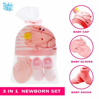 Baby Steps 3 in 1 Gift Pack Baby Cap, Baby Gloves, Baby Socks forBaby Girls (Pink) Price Philippines