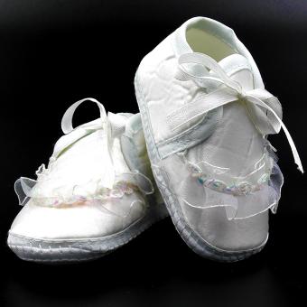 Baby Steps Ashley Christening Baby Girl Shoes (White) - 3