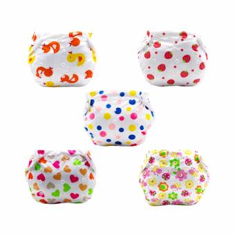 Baby Steps Baby Girl Pattern Printed Cloth Diaper Set of 5(Multicolor)