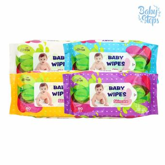 Baby Steps Baby Wipes Skincare 80 sheets Set of 4 (Multicolor)