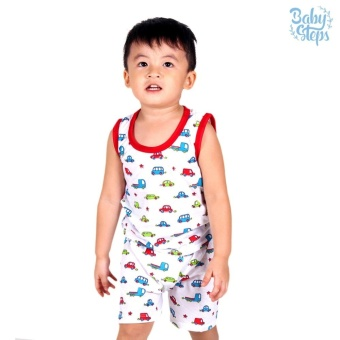 Baby Steps Basic Wear Cars Baby Boy Terno Clothing Sets (Red)