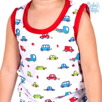 Baby Steps Basic Wear Cars Baby Boy Terno Clothing Sets (Red) - 2