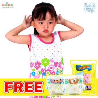 Baby Steps Basic Wear Flowers Bunch 9-12 Months Baby Girl TernoClothing Sets (Multicolor) with Free 2pcs Playful Baby DisposableDiapers Dry EZ Tape Small