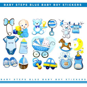 Baby Steps Blue Baby Boy Scrapbook Party 3D Stickers Set of 3