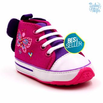 Baby Steps Butterfly High Cut Baby Girl Shoes (Pink)