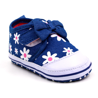 Baby Steps Floral Ribbon Baby Girl Shoes (Blue)