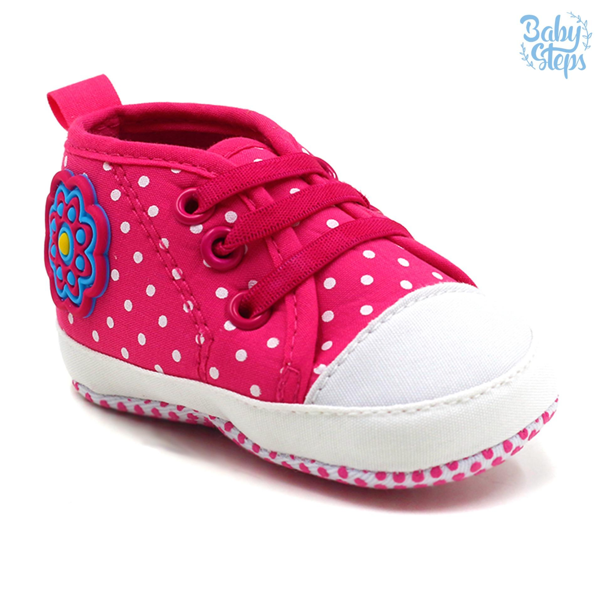 Philippines Baby Steps Flowerdots Lace Baby Girl Shoes Hot Pink