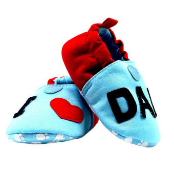 BABY STEPS IloveDad Baby Cotton Shoes (Blue/Red) - 4