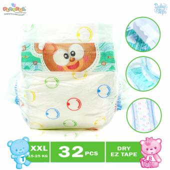Baby Steps Playful Baby Diaper Clothlike Dry EZ Tape with Aloe Vera 32's XXL
