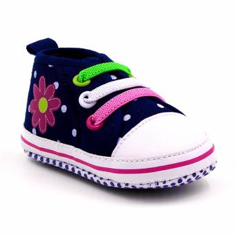Baby Steps Polka Flower Baby Girl Shoes (Navy)