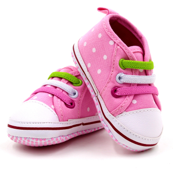 Baby Steps Polka Flower Baby Girl Shoes (Pink) - 2