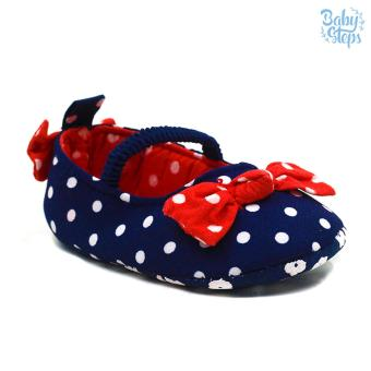 Baby Steps Polka Garter Ribbons Baby Girl Shoes (Navy Blue) Price Philippines