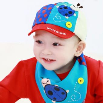 Baby Toddler Baseball Capwith Bib Cute Ladybug Soft Cotton Kids Capwith Bib Unisex Summer Rain Hat Food Bib Costume Girls Boys