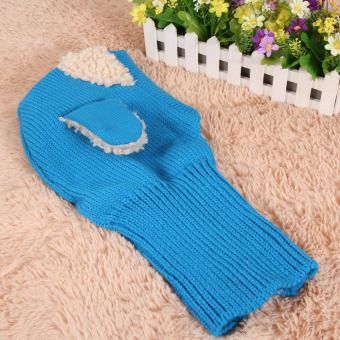 Baby Toddler Winter Beanie Warm Hat Hooded Scarf Earflap KnittedCap(Blue) - Intl - 4