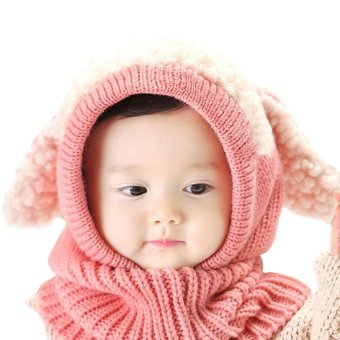 Baby Toddler Winter Beanie Warm Hat Hooded Scarf Earflap KnittedCap(Pink)
