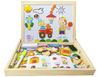 Bao Core Children's Wooden Magnetic Jigsaw Puzzle Game Toys Magnetic Stick Characters Scenery Puzzle Double Side Black and White Board Educational Toy Birthday Christmas Gift for Kids Toddlers Over 3 Years Old-Human Set - intl - picture 2