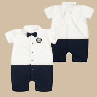 Baobao British style bowtie romper crawling clothes