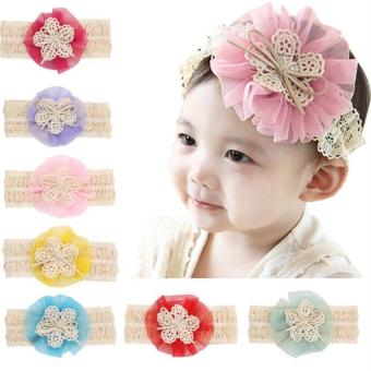 Bear Fashion Baby Girls Headband Head Floral Elastic Hair Band - intl