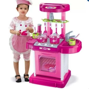 Best Quality Kitchen Cooking Toy Play set with Lights & Sounds(Pink)