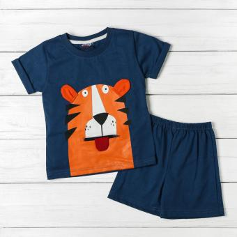 BGS Baby Boys Tiger Tee and Shorts Set (Blue)