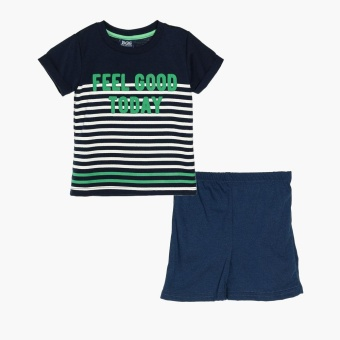 BGS Boys Feel Good Today Tee and Shorts Set (Navy Blue)