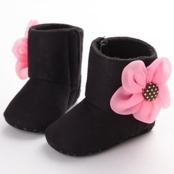 Black Boots Toddler Newborn-18 Months Soft Sole Slip On Baby Boys Girls Cotton Shoes S1585