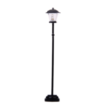 Black Metal Miniature Led Street Lamp Model