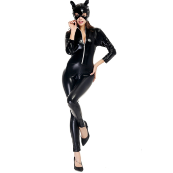 Black Sexy Catwoman Costume Cosplay Halloween Jumpsuit - intl