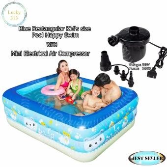 Blue Rectangular Kid's size Pool Happy Swim With Mini ElectricalAir Compressor