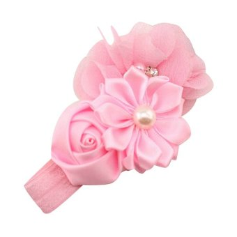 Bluelans® Chiffon Faux Pearl Headband (Pink) - picture 2