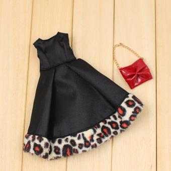 Blythe leopord pattern black small cloth doll lace hand bag