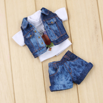 Blythe Striped short sleeved shorts cowboy jacket small cloth doll