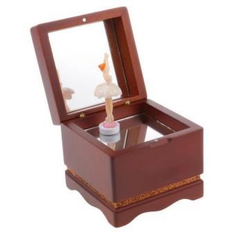 BolehDeals Wooden Dancing Girl Music Box Melody Box Desk Decoration Castle in the Sky - intl