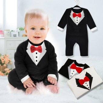 Boy Baby Kids Toddler Bowknot Gentleman Romper Jumpsuit Clothes Outfit - intl