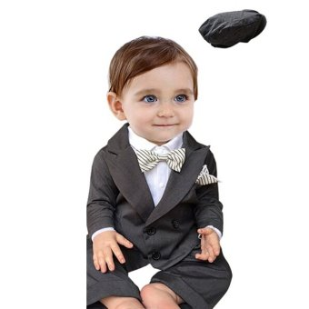 Boys Clothing Sets 3PCS Baby Formal Suit Coat + Romper + Hat SuitsInfant Gentlemen Black